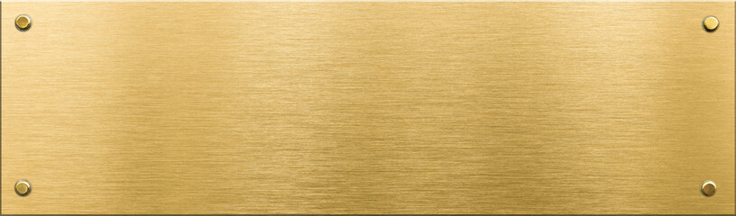 Wall Mural - gold metal plaque or nameboard with rivets