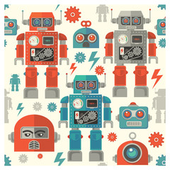 Estores personalizados infantiles con tu foto seamless retro Robot  pattern,cartoon vector illustration