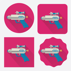 Space gun/ray gun flat icon with long shadow