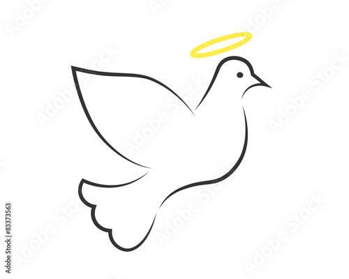 """""""White Dove With Halo As The Holy Spirit Symbol"""" Stock"""