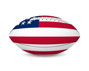 Football with flag of USA, isolated on white