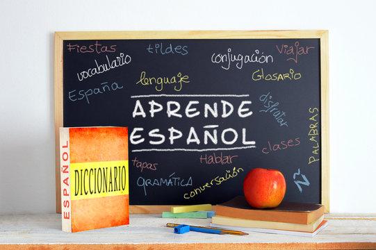Blackboard in an English class.
