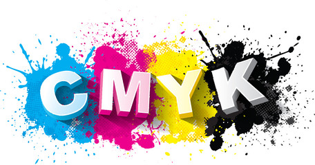 3d CMYK letters with paint splash background, Logo Symbol