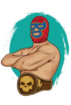 mexican wrestler pose vector illustration