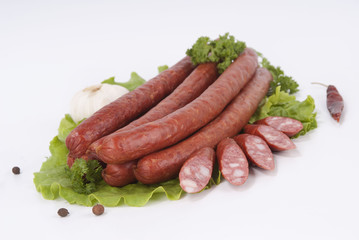 Composition of the smoked sausages and vegetables.