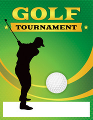 Green Golf Tournament Flyer Illustration