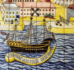 Fotomurales - Ancient ceramic tile, museum Azulejo, Lisbon, Portugal.