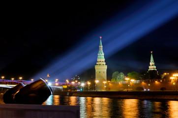 Festive illumination of the Moscow Kremlin at night.