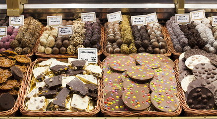 Gourmet assorted truffles in the market