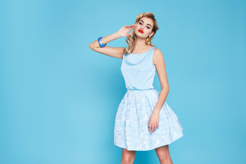 Beautiful sexy bussines blondwoman in summer clothes collection