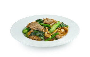 Stir-fried Noodles with pork and  chinese broccoli  on white bac