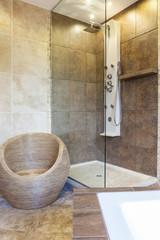 Photo of shower tub in modern bathroom
