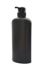 black plastic pump cosmetic bottle on white background