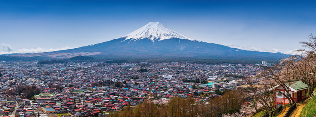 Panorama Aerial view of mt.Fuji, Fujiyoshida, Japan