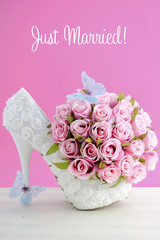 Pink and white theme wedding bouquet concept.
