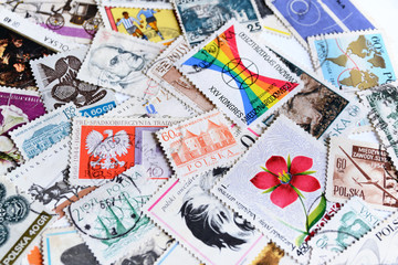 Various old vintage retro Polish post stamps
