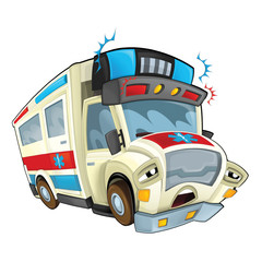 Cartoon ambulance - caricature - illustration