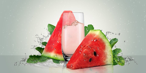 Juicy watermelon with a glass of watermelon juice.