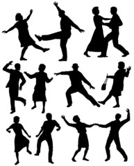 Set of silhouettes of elderly couples dancing