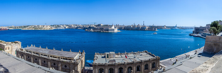 Panorama view Grand Harbour, Valletta, Malta