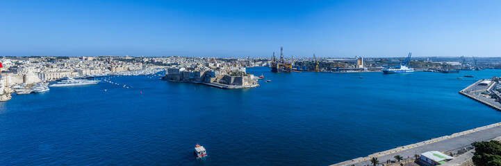 Panoramic view Grand Harbour, Valletta, Malta