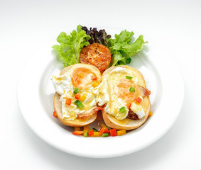 Sandwich with egg and paprika and lettuce isolated on white