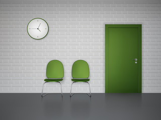 Waiting interior with clock and chairs