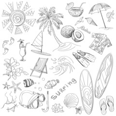surfing hand draw doodles