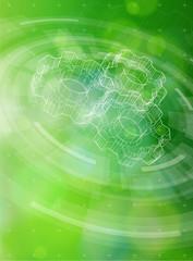 gears, radial HUD elements & green bokeh