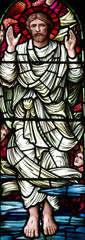 Fototapete - The ascension of Jesus Christ in stained glass
