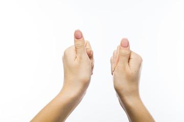 female hand holding something, isolated on white.