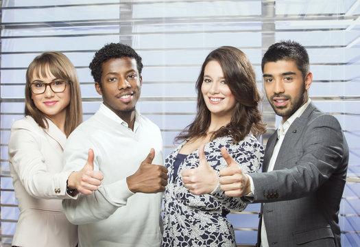 Successful international business team
