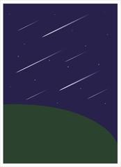 lluvia de estrellas en la noche