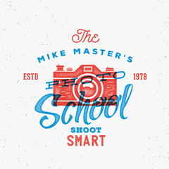 Photography School Retro Print Effect Vector Label or Logo