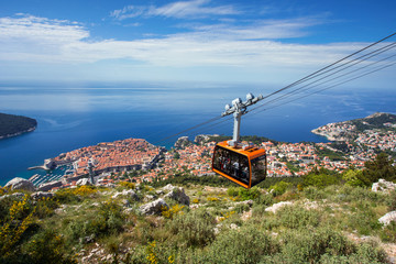 Dubrovnik panorama with cable car moving down Wall mural