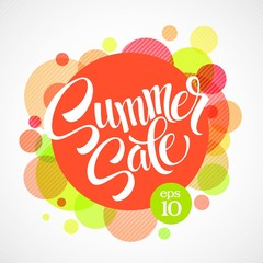 Summer sale. Inscription against the bright background of the