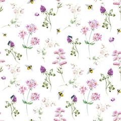 Watercolor wildflower pattern