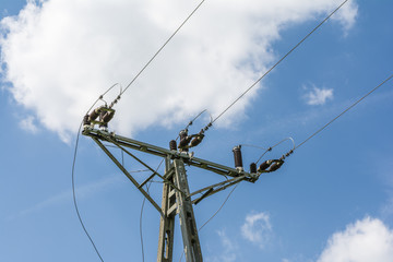 Ceramic insulators on power pole