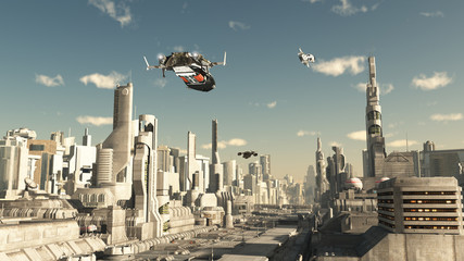 Scout Ship Landing in a Future City, Scifi illustration