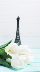 Postcard with elegant  flowers and Eiffel tower