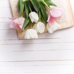 Background with fresh  tulip flowers on  vintage book