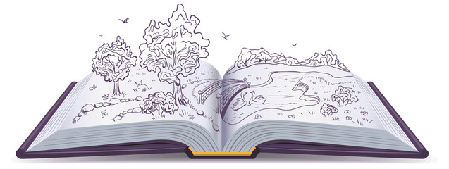 Meadow, River, bridge, trees in pages open book