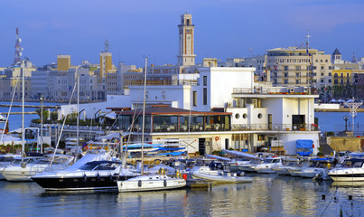 The little port with the tipical fishing boats. Bari Italy