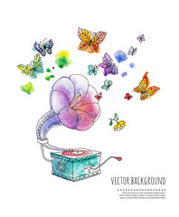 watercolor illustration with gramophone