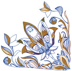Paisley flower hand drawing illustration