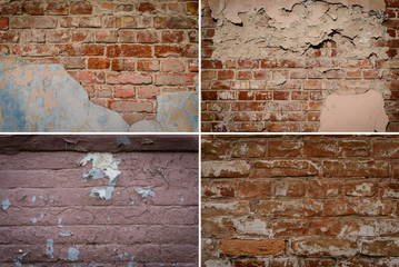 Collage. Brick textures with cracks, scratches and attritions