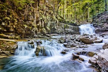 Waterfall in Carpathian mountain, Ukraine