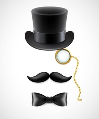 Vintage silhouette of top hat, mustaches, monocle and a bow tie