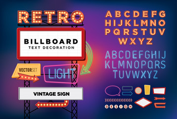 Vector set Retro neon sign, vintage billboard, bright signboard
