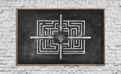 chalk board with maze